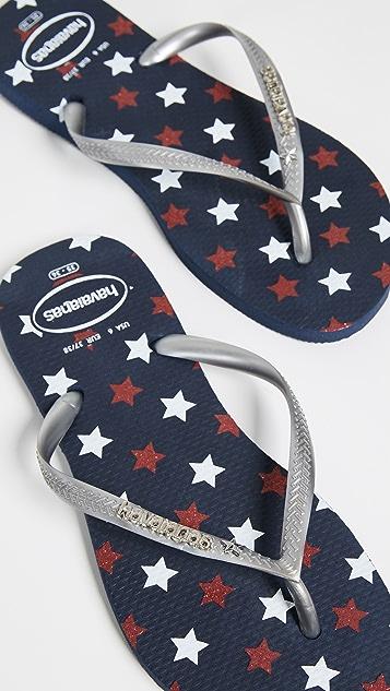 Havaianas Slim Stars Glitter Flip Flops