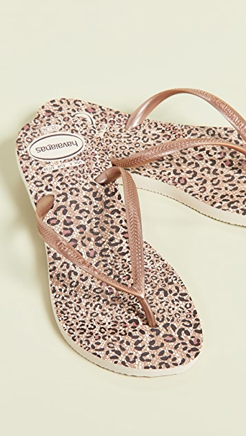 Havaianas Slim Animals Flip Flops - Beige/Rose Gold
