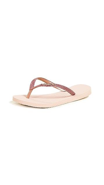 Havaianas 亮片窄版夹趾凉鞋