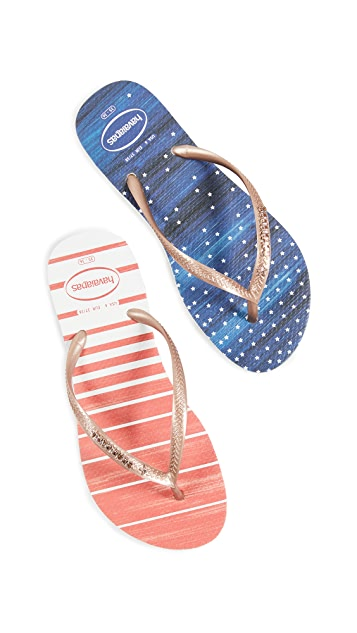 Havaianas 纤细水洗色夹趾凉拖