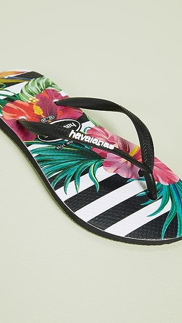 Havaianas Узкие вьетнамки Tropical с цветочным рисунком