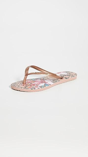 Havaianas 纤巧动物印花夹趾凉鞋