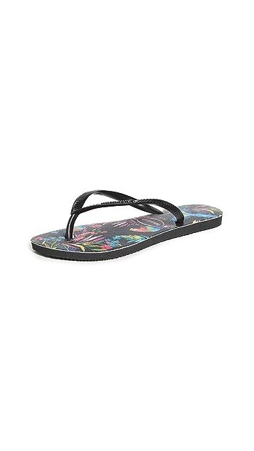 Havaianas 纤巧热带风情花卉印花夹趾凉鞋