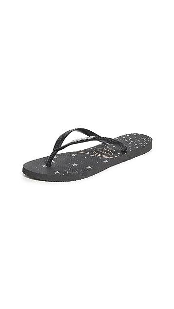 Havaianas 标志金属色窄版夹趾拖鞋