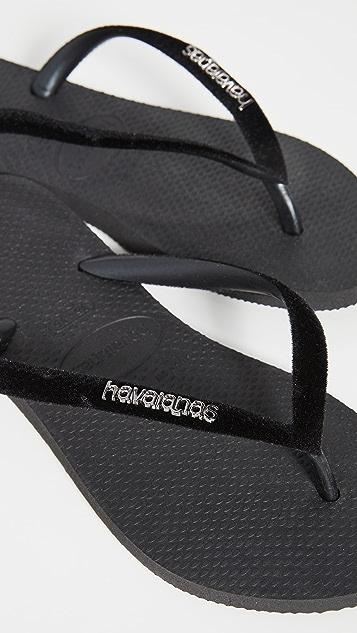 Havaianas 天鹅绒纤巧夹趾凉鞋
