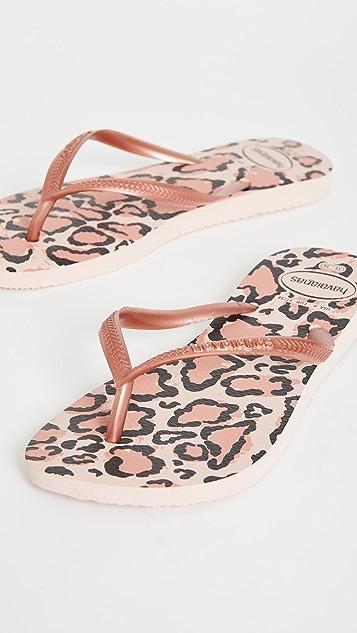 Havaianas 细长动物印花夹趾凉鞋
