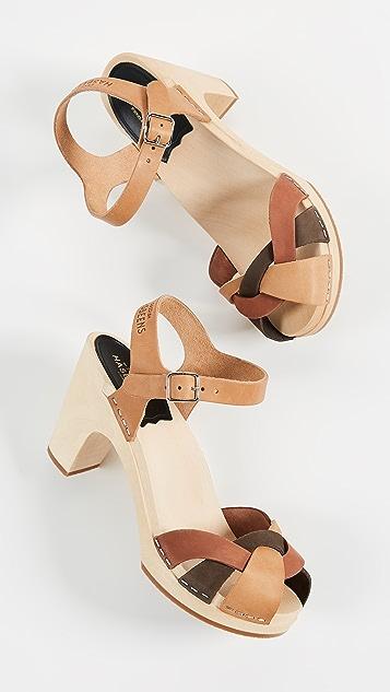 Swedish Hasbeens Kringlan Block Heel Sandals