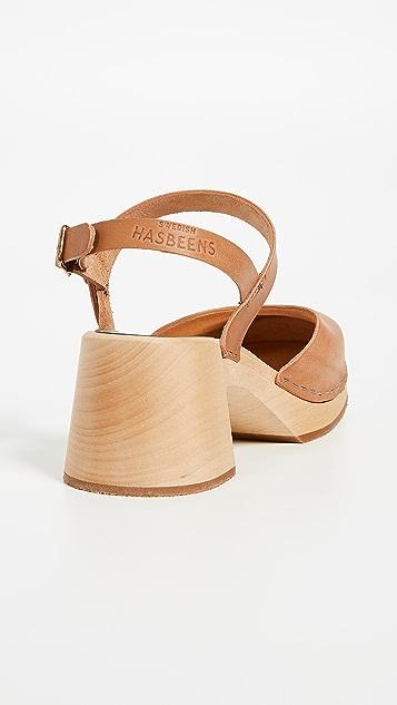 Swedish Hasbeens Irene Block Heel Clogs