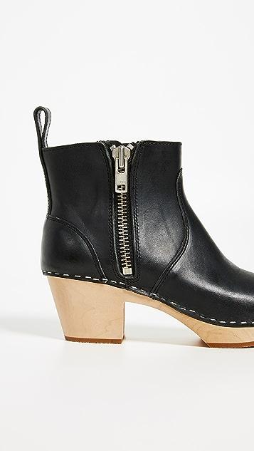 Swedish Hasbeens Zip it Emy Block Heel Booties