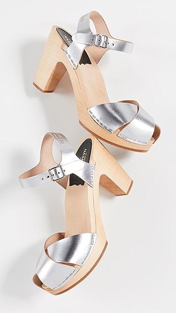 Swedish Hasbeens Merci 脚踝绑带木底鞋