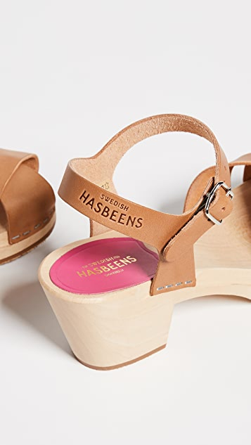 Swedish Hasbeens Mirja Ankle Strap Clogs