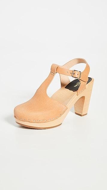 Swedish Hasbeens T 型固定带超高木底鞋