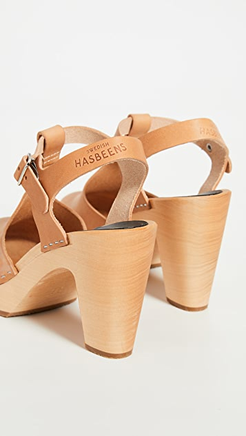 Swedish Hasbeens T-Strap Sky High Clogs