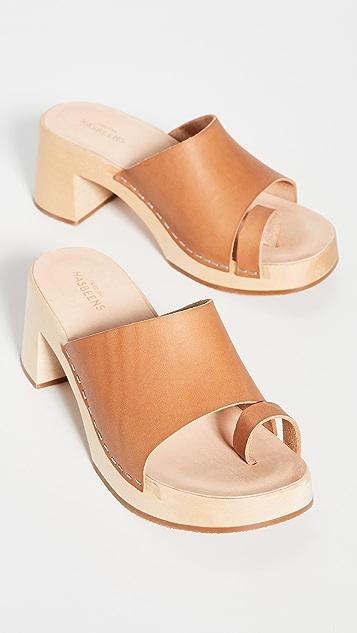Swedish Hasbeens 趾带木底鞋