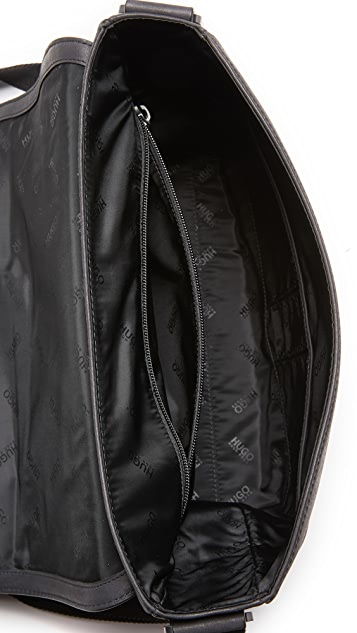 HUGO Highway Leather Flap Messenger Bag