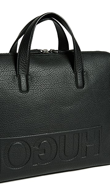HUGO Hugo Boss Victorian Logo Leather Briefcase