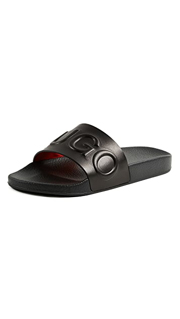 HUGO Time Out Leather Slides