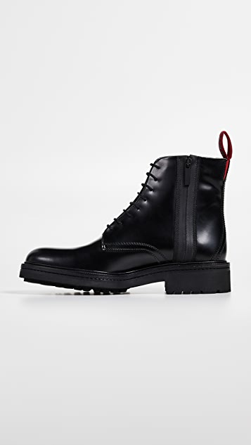 HUGO Hugo Boss Impact Logo Tab Leather Boots
