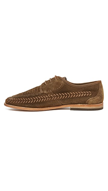 Hudson London Anfa Suede Woven Lace Up Oxfords