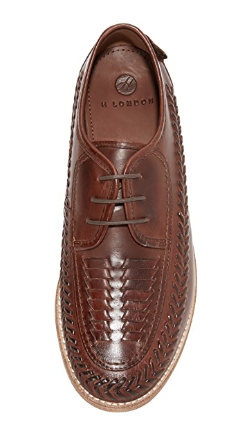 Hudson London Anfa Calf Woven Lace Up Oxfords