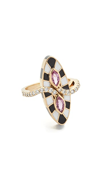 Holly Dyment 18k Gold Marquis Ring with Pink Sapphire