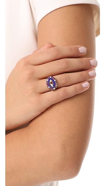 Holly Dyment 18k Gold Americana Blue Eye Ring