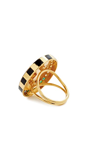 Holly Dyment 18k Gold Anchor Ring with Rainbow Stones