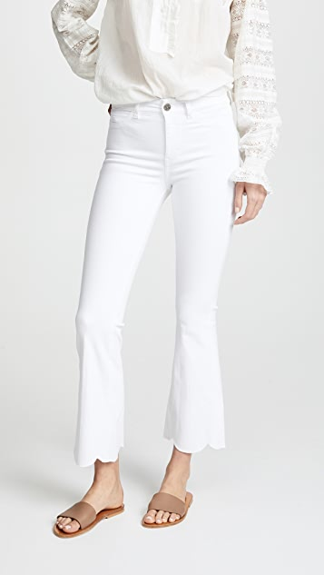 M.i.h Jeans Bodycon Marrakesh Scalloped Flare Jeans - Power White