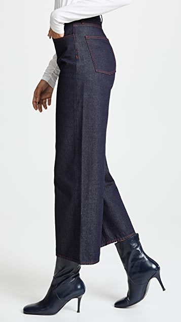 M.i.h Jeans Caron Wideleg Jeans with Contrast Stitching