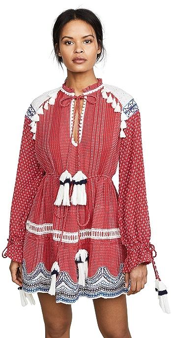 Hemant and Nandita Long Sleeve Dress - Red