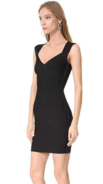 Herve Leger Signature Essentials V Neck Dress
