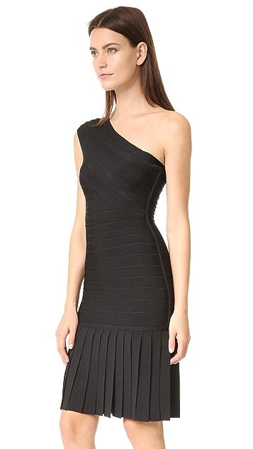Herve Leger Renee Fringe One Shoulder Dress