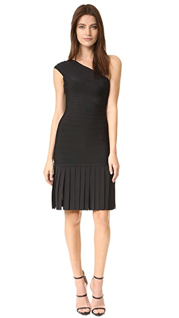 Herve Leger Renee Fringe One Shoulder Dress