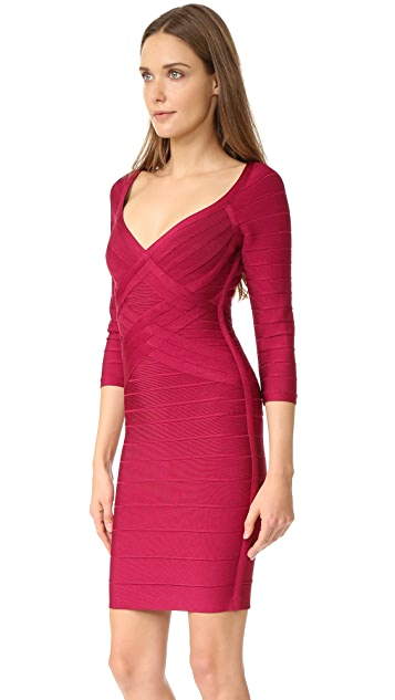 Herve Leger Alicia 3/4 Sleeve Dress