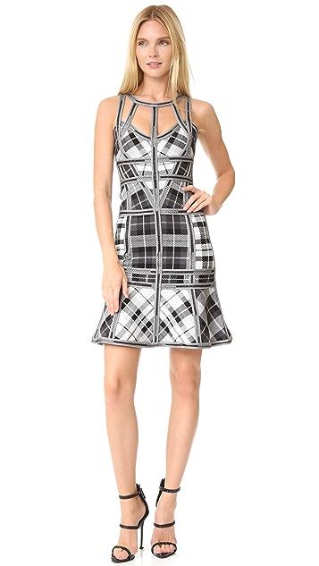 Herve Leger Jenissa Tartan Print Dress