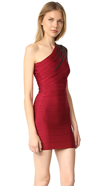 Herve Leger Brianne One Shoulder Dress