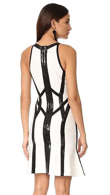 Herve Leger Zahara Dress with Black Sequins