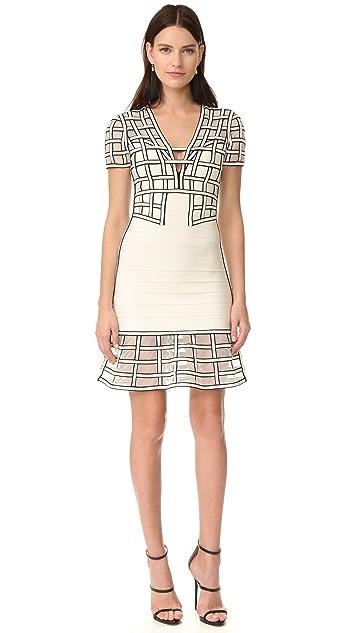 Herve Leger Tamera Short Sleeve Dress