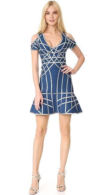 Herve Leger Veronikka Cold Shoulder Dress