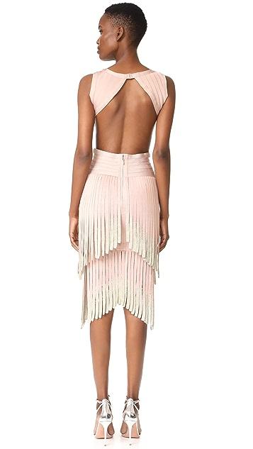Herve Leger Fringe Sleeveless Dress