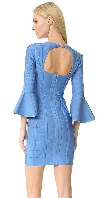 Herve Leger Yasmine V Neck Dress
