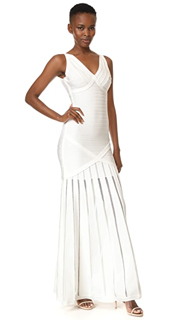 Herve Leger V Neck Gown with Pointelle Skirt