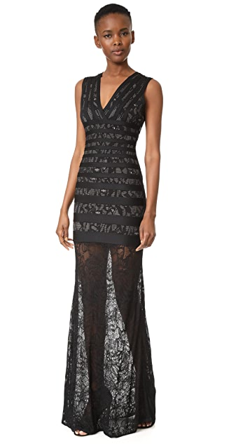 Herve Leger Striped Lace Inset Gown