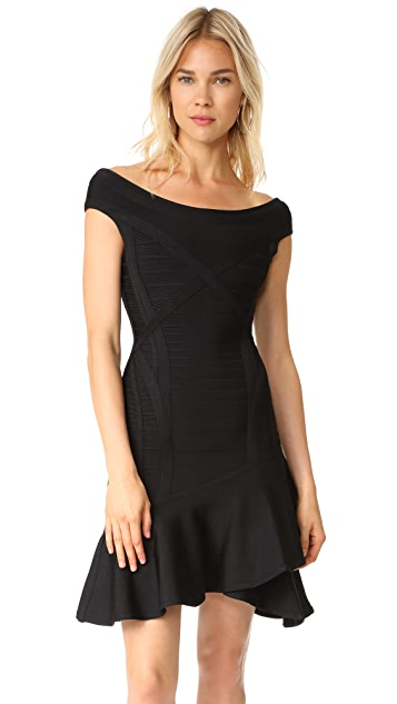 Herve Leger Boat Neck Layered Skirt Dress