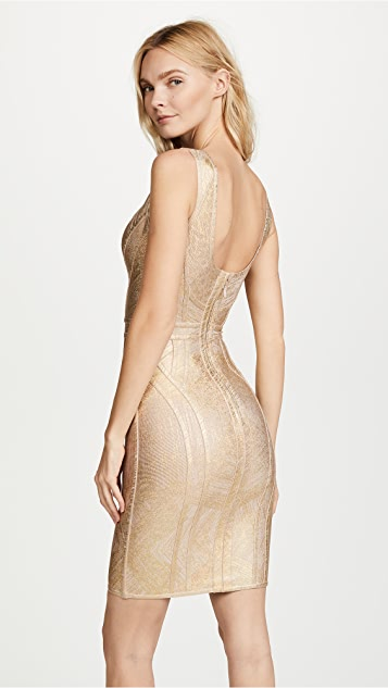 Herve Leger V Neck Above Knee Dress