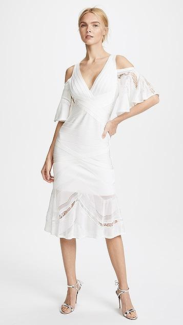 Herve Leger V Neck Cold Shoulder Dress - Alabaster