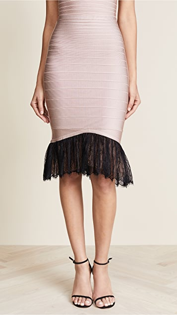 Herve Leger Lace Trim Midi Skirt - Bare Combo