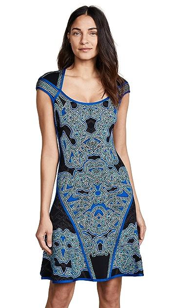 Herve Leger Scoop Neck Printed Dress