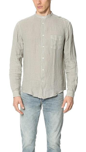 54142a6f51cda6 Hartford Band Collar Linen Shirt | EAST DANE
