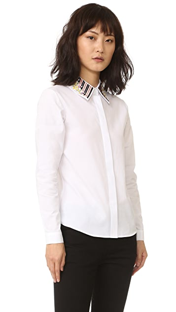 Holly Fulton Long Sleeve Shirt with Embroidered Collar